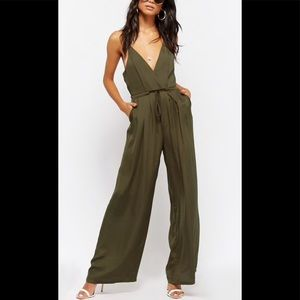 NWT Forever 21 Olive Palazzo Jumpsuit